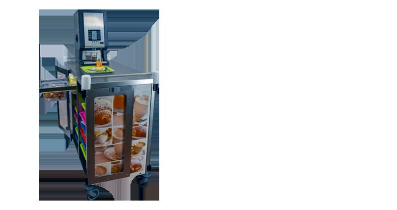 Chariot de distribution de petits-déjeuners