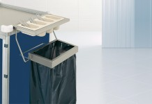Bin holder and removable cutlery