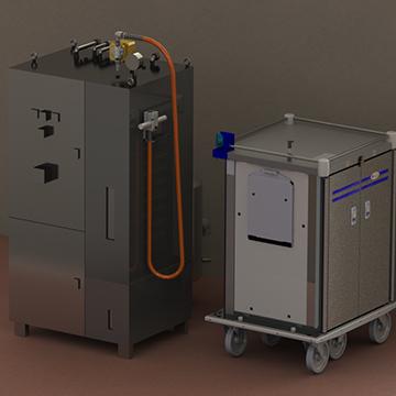 Appareil pour l'hygiène des chariots de distribution de repas