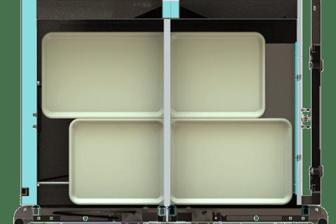 vue de coupe de plateaux Bento
